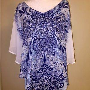Dress barn NWT flyaway embellished blouse